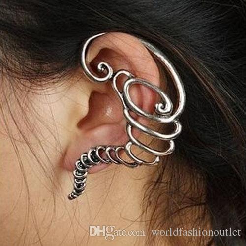 Ear Cuff Brincos Meninas Brincos Pendientes Mujer Bijoux Vintage Tornado Clipe Ear Cuff Brincos Para As Mulheres Bronze Banhado A Prata Jóias Brincos