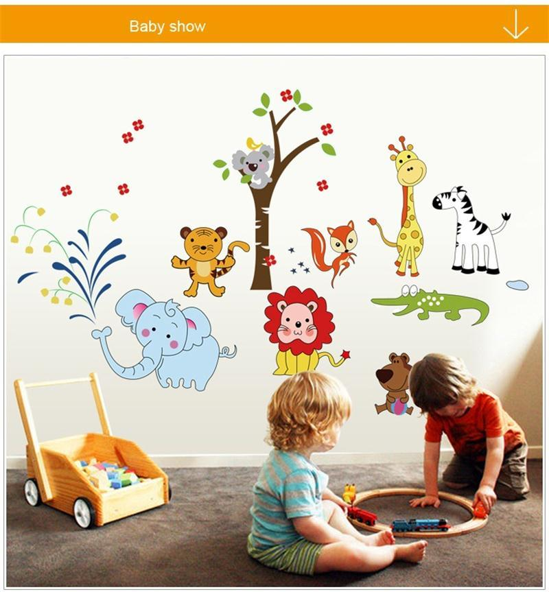 Cartoon Animal Zoo Lion Tiger Jungle Tree Nursery Decor Art Lion Kids Room  Decor Pvc Ay9221 Zy9221 Wall Stickers Baby Bedroom Decor Wall Graphics  Stickers ... Part 91