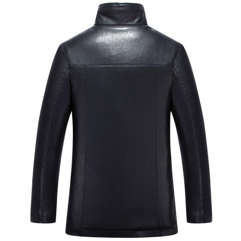 5XL Male Leather Jacket Mens Faux Fur Coats Winter Jacket Thicker Warm Outwear Overcoat Windbreak Woolen Cashmere Tops Plus Size