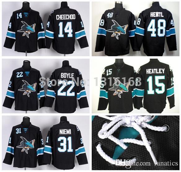 2018 2016 San Jose Sharks Hockey Jersey Black 31 Antti Niemi 14 Jonathan  Cheechoo 22 Dan Boyle 48 Tomas Hertl 15 Dany Heatley Ice Hockey From  Fanatics, ...