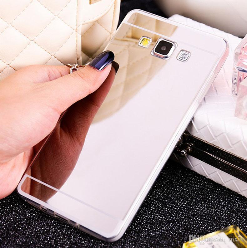 Luxury Clear Acrylic Mirror Electroplating Chrome Soft TPU Case For Samsung Galaxy A5 A7 A8 J1 Ace J2 J3 J5 J7 J110 Note 4