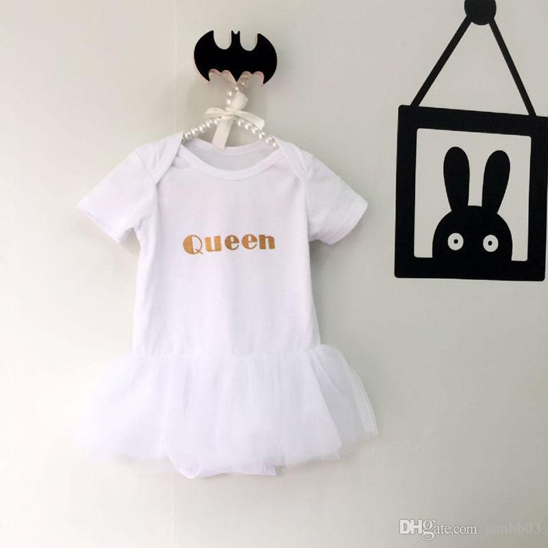 Europa Estate Bambino neonato Pagliaccetti di un pezzo REGINA Cotone Pizzo di Tulle Gonna Tuta da principessa Tute Vestito Bambini Bambini Salire Vestiti 1182