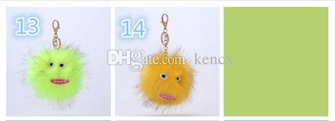Hip-hop Style Fluffy Genuine Raccoon Fur Pom Pom Keychain Fur Ball Monster Bag Charm Women Plush Bag Accessories Key Chains Key Ring