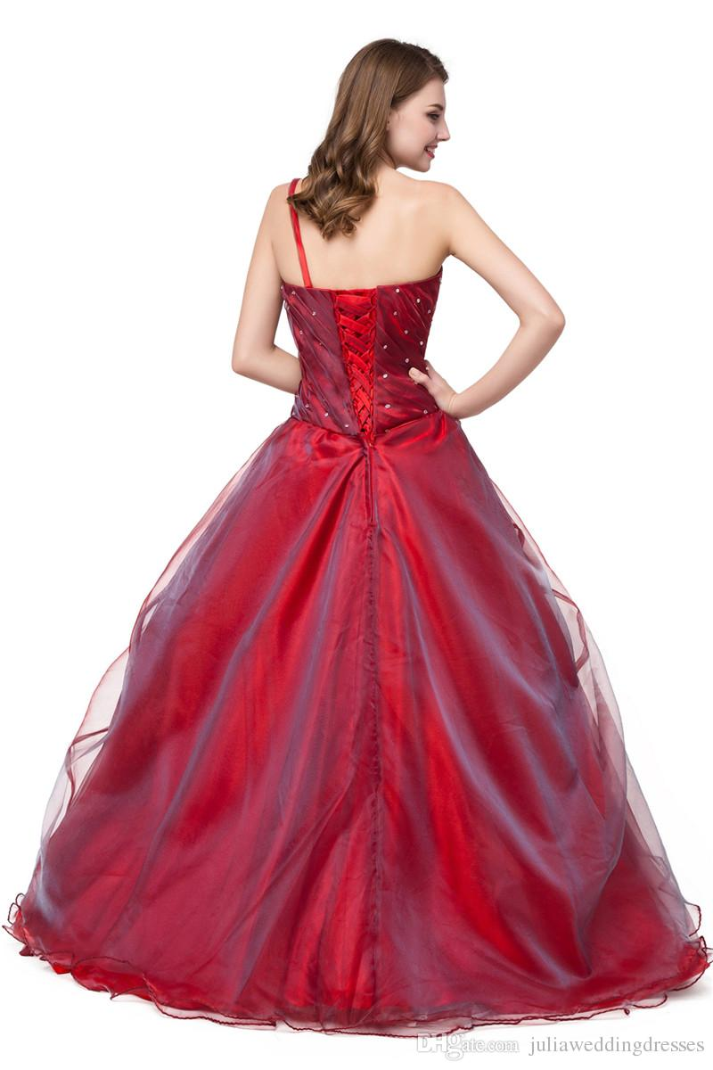 2017 New One-Shoulder Flowers A-Line Quinceanera Dresses with Beading Sequins Organza Plus Size Sweet 16 Dress Vestido Debutante Gowns BQ48