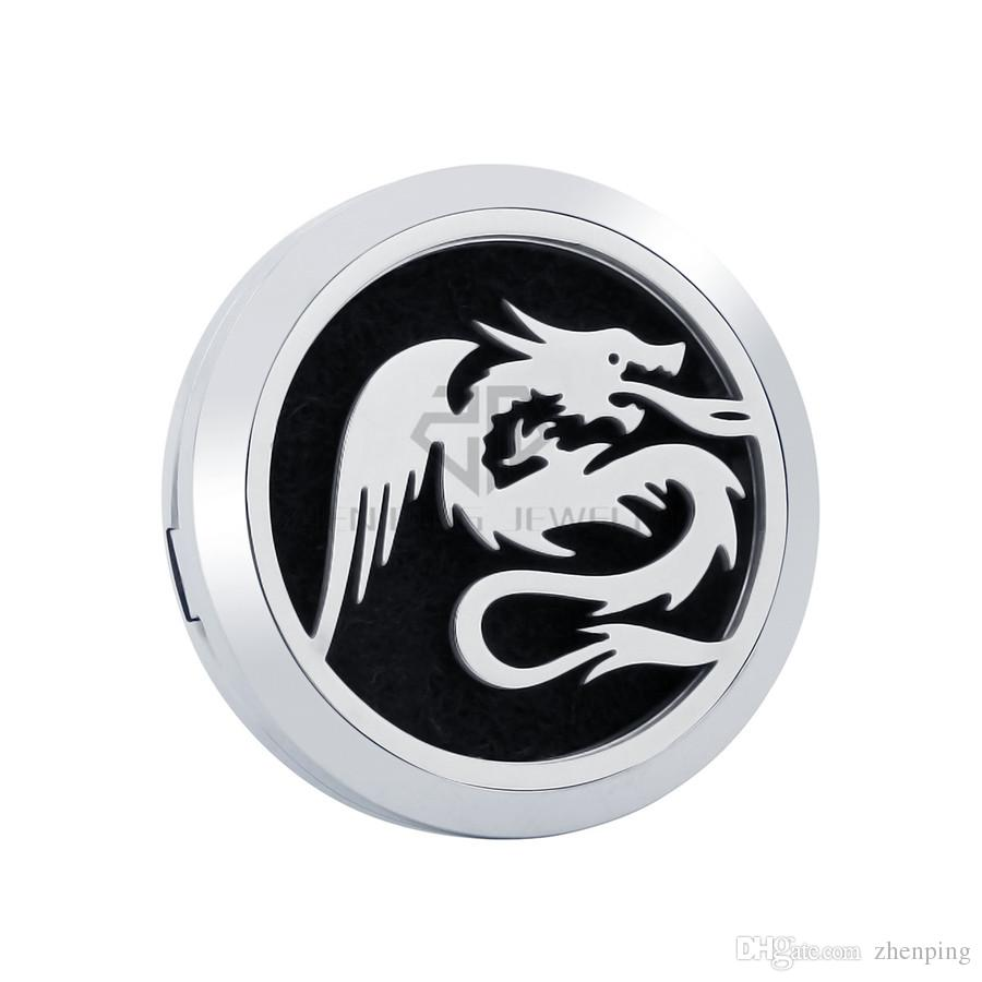 New Arrival Silver Dragon 30mm Magnetic Diffuser 316 Stainless Steel Car Perfume Lockets Essential Oil Car Air Fresher Lockets