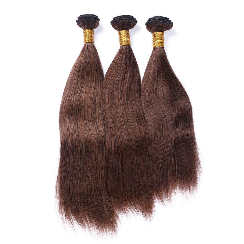 Silky Straight Virgin Peruvian Chocolate Brown Human Hair Weaves Extensions #4 Medium Brown Human Hair Bundles Wholesale Double Wefts
