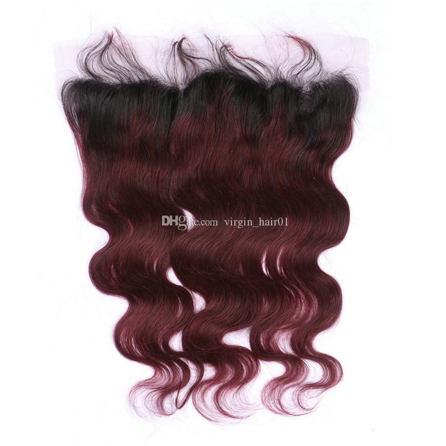 حزم الجسم موجة أومبير 99j الشعر مع الدانتيل أمامي طبقتان 1b 99j عنابي الرباط أمامي مع موجة الجسم نسج الشعر البشري