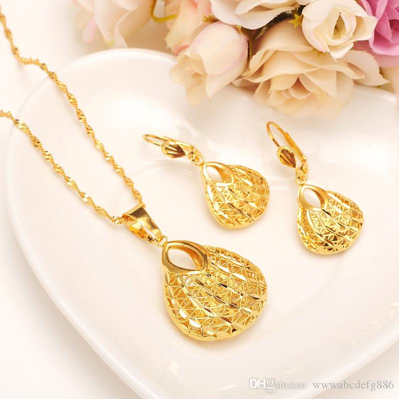 Fashion Bag Pendant Earring Set Women Party Gift Fine Gold Filled Necklace Earrings Jewelry Sets