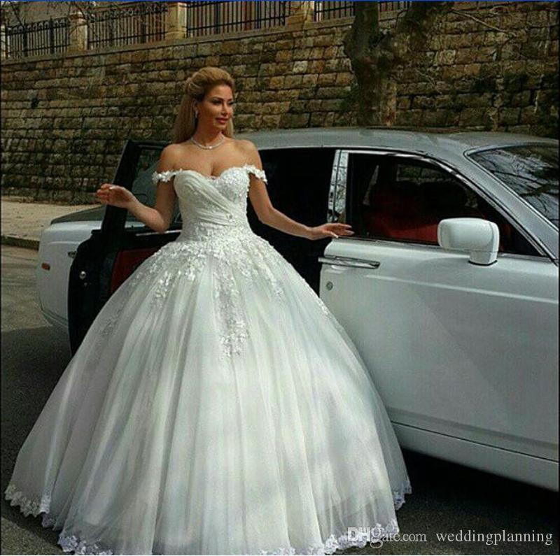 Cheap Vintage Puffy Ball Gown Custom Wedding Dresses Off Shoulder