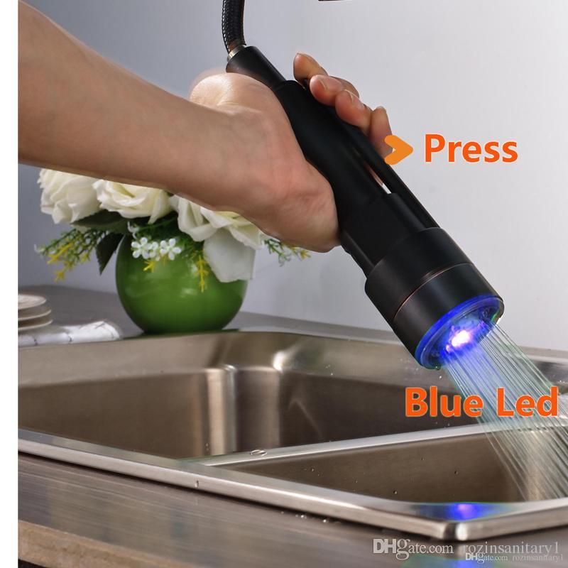 النحاس الصلب + abs البلاستيك led النفط مفروك البرونزية صنبور المطبخ صنبور استبدال البخاخ رئيس جديد