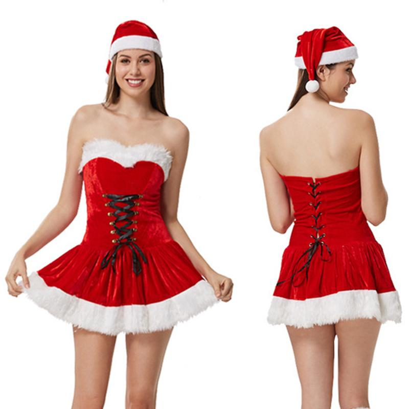 Top Quality Sexy Adult Women Christmas Costume Halloween Party Sweetheart Miss Santa Cosplay Mini Skirt Hat 2736 4 People