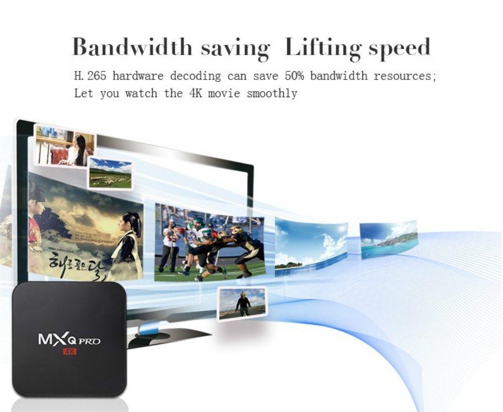 Android 7.1 TV-Box MXQ pro 4K Quad Core 1 GB / 8 GB Amlogic S905W Rockchip RK3229 Smart-TV-Box-Unterstützung WIFI 3D 4K IPTV