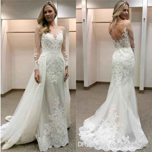 2019 New Designer White Wedding Dresses With Detachable Train Illusion Long Sleeves Lace Appliques Backless Wedding Bridal Gowns