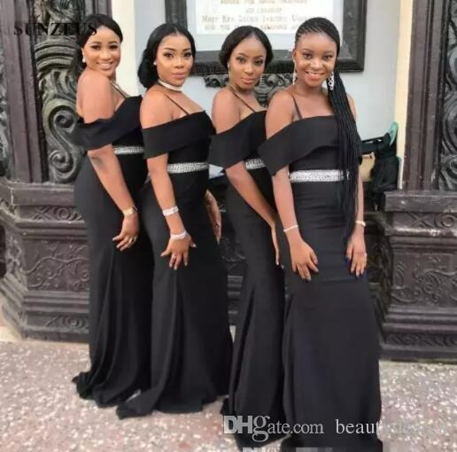 Africano preto meninas sereia vestidos de dama de honra longo Sash Beads Off The Shoulder Maid Of Honor vestidos Chiffon Wedding Guest Dress