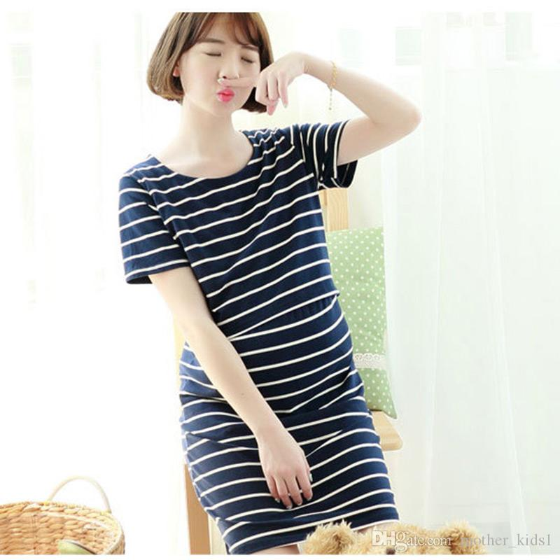 Online Cheap Autumn Striped Dress Maternity Nursing Dresses For ...
