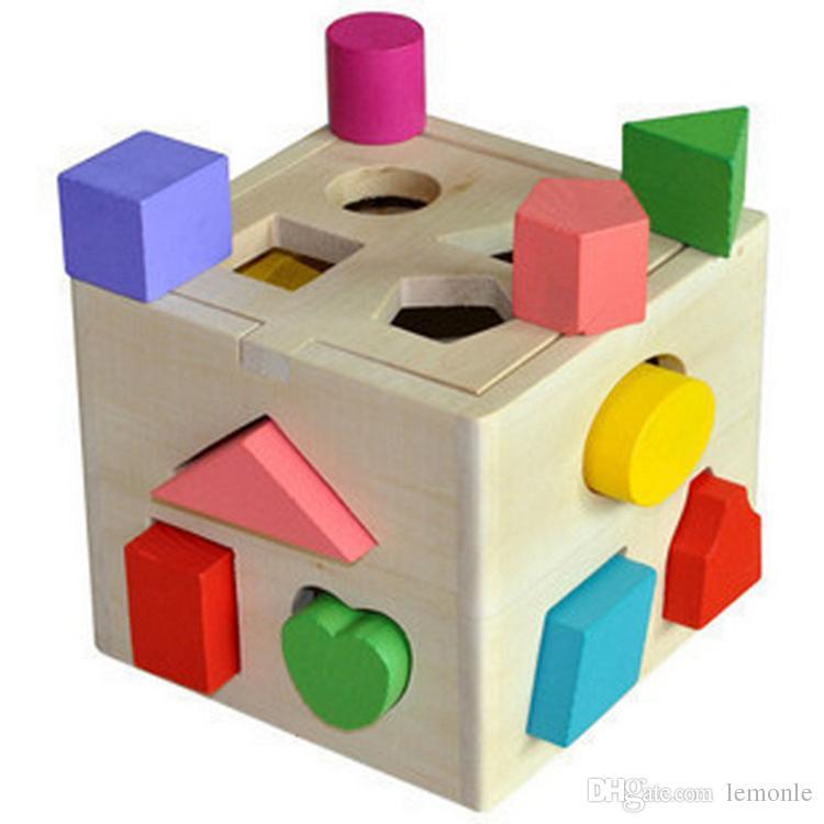 طفل كتلة خشبية اللعب الكلاسيكية متعددة الشكل مكعب اللون تعلم هدية مربع juguetes brinquedos متعددة الوظائف