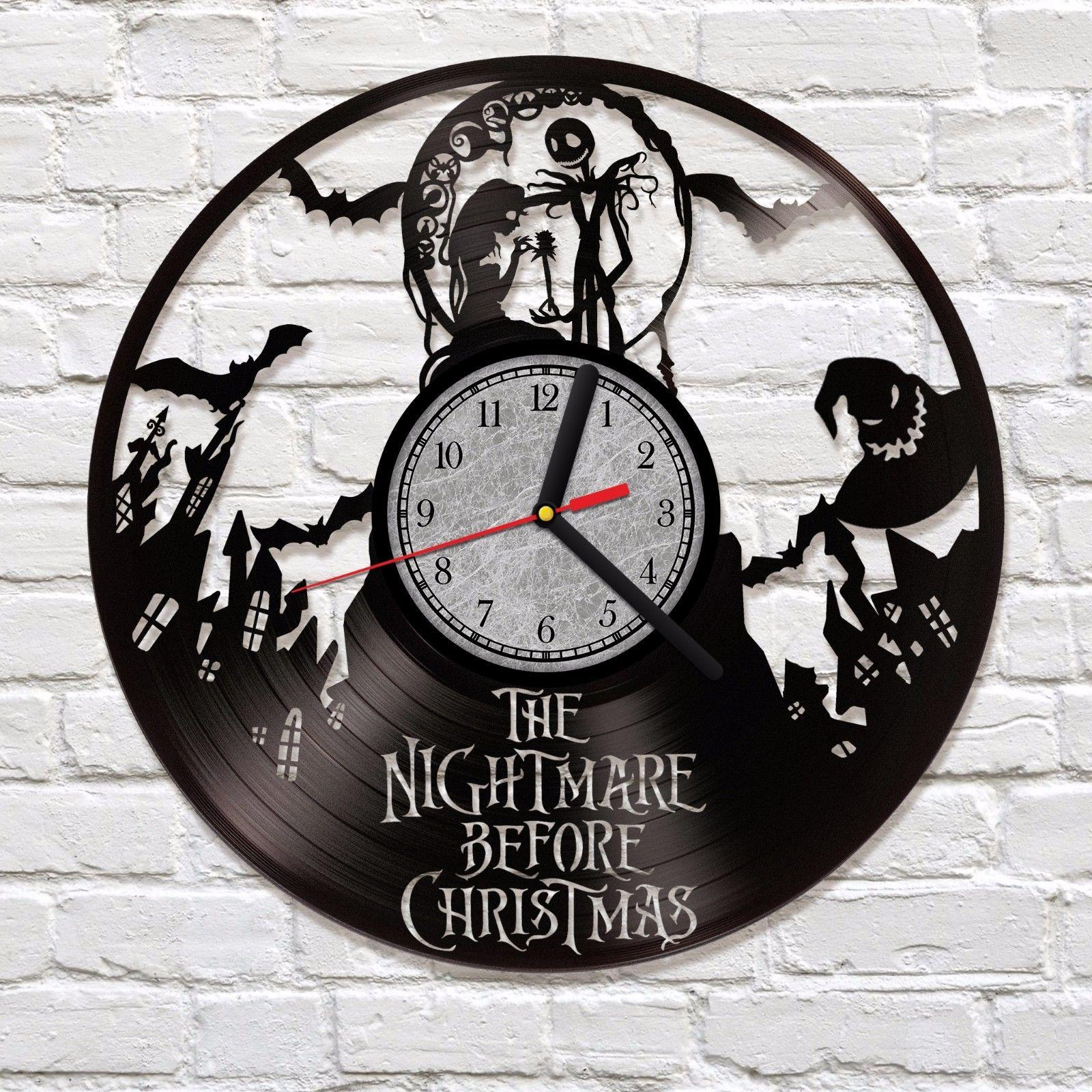 Cheap wall clocks peugen nightmare before christmas vinyl clock art decor sally and jack amipublicfo Image collections