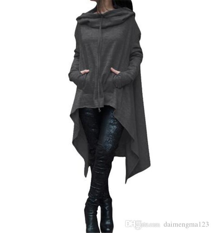 10design Felpe con cappuccio maniche lunghe irregolari donne cappotto casual solido autunno camicette felpe pullover outwear maglione vestiti delle donne M102