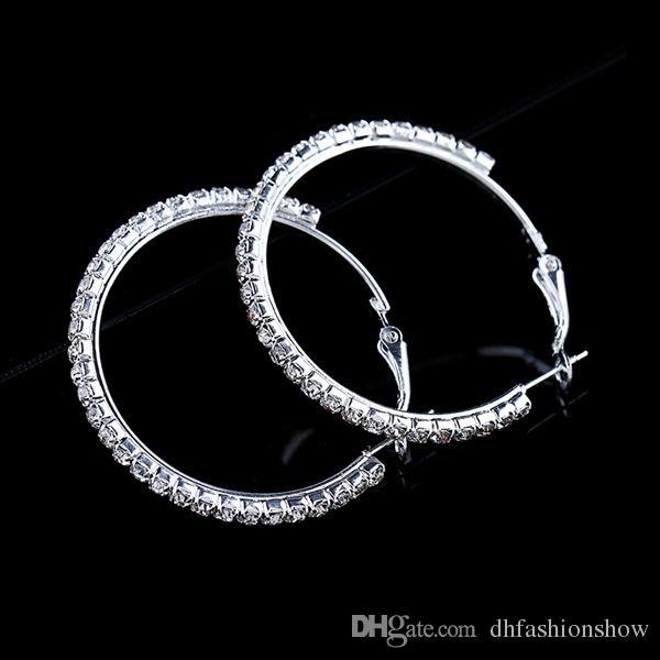 الأزياء الكبيرة الكريستال أقراط الأطواق كبيرة هوب أقراط الفضة Oorbellen روند كريول للنساء دائرة مجوهرات الزفاف حزب الملحقات