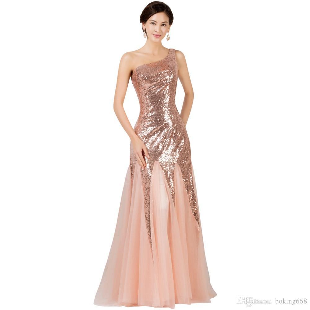 Cheap Floor Length Formal Evening Dress Gown 2018 New Elegant Pink ...