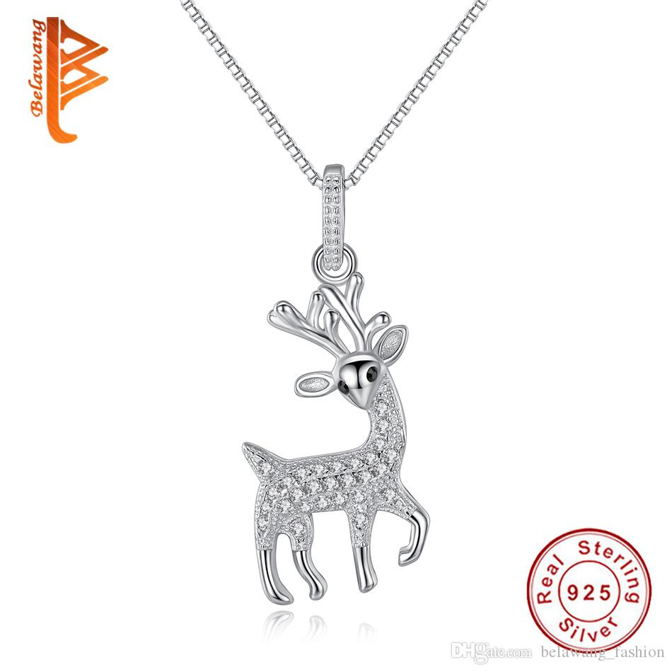 Solid Sterling Silver Pendant Necklace for Women 925 Jewelry Reindeer Design Christmas Gift ogmuho