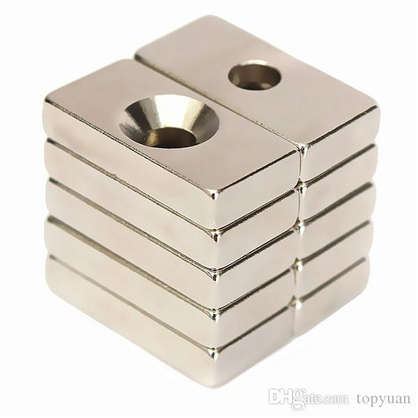 N50 20x10x4mm 4mm Hole Super Strong Block Magnets Rare Earth Neodymium Magnets