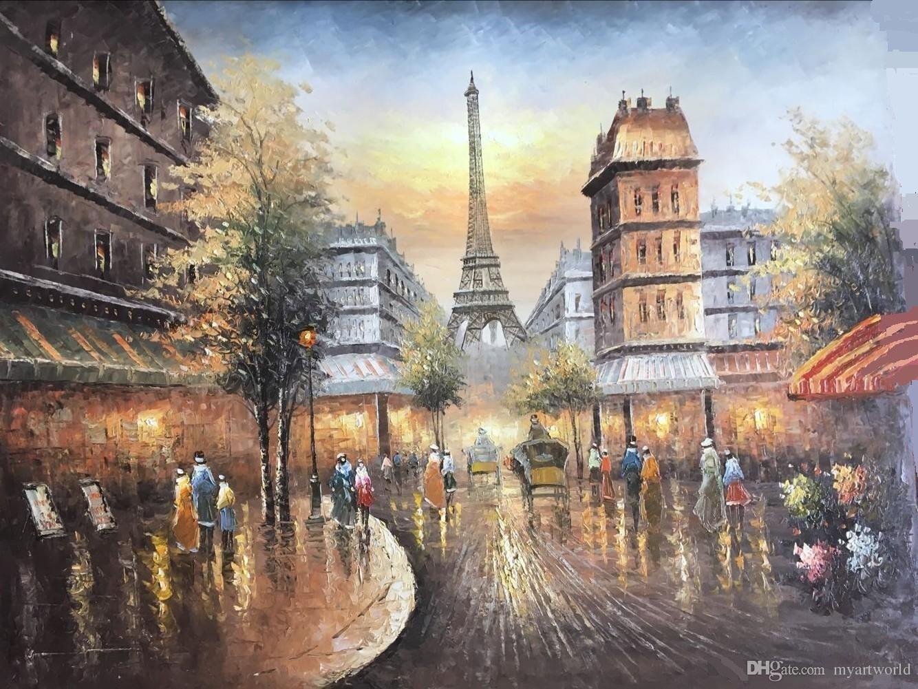 2019 Framed Eiffel Tower,Paris Street City VIEWS,Pure Hand ... Eiffel Tower Painting Landscape