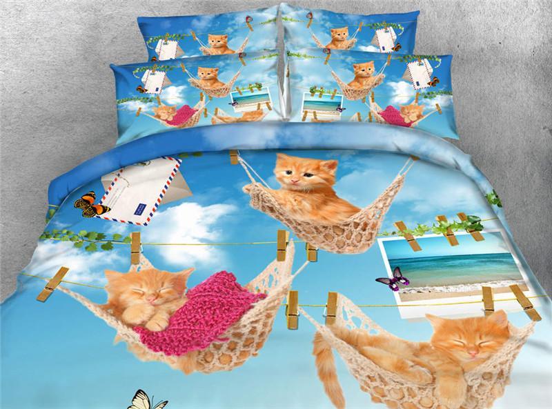 Luna gato negro 3D Reactive impreso juegos de cama doble completo Queen King Size cubrecamas ropa de cama fundas de edredón almohadas Shams edredón animal