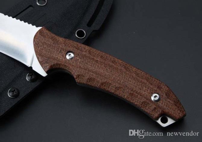 Facas personalizadas-Lâmina Fixa Ao Ar Livre Faca de Caça Tático AUS-8 Tanto Lâmina de Lâmina de Cânhamo Sobrevivência facas Retas