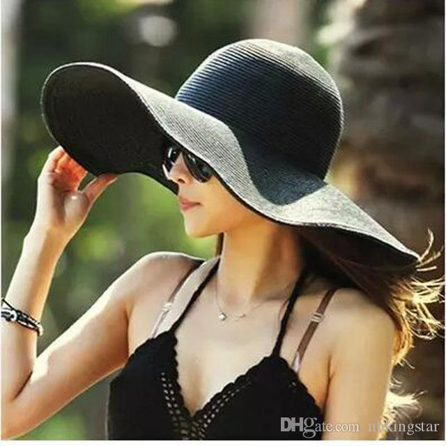 5ba330d5cf3 Women Wide Brim Hat Floppy Derby Large Beach Sunhat Straw Straw Sun Hat  Summer Flet Cap Beach Floppy Straw Caps Online with  10.18 Piece on  Nbkingstar s ...