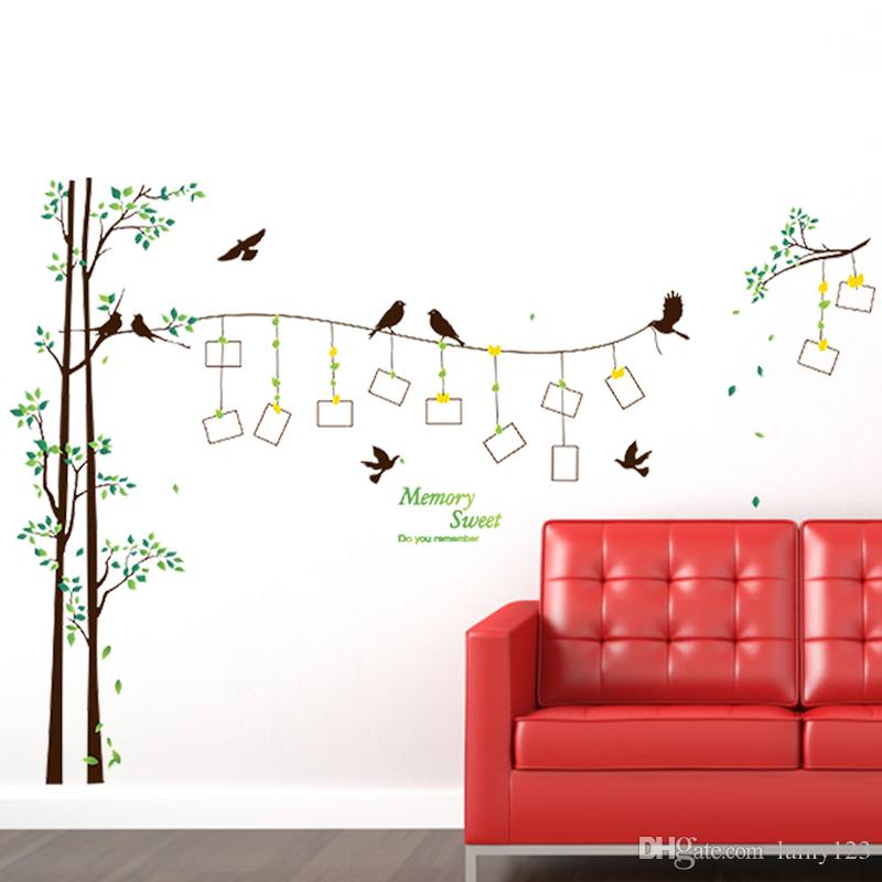 Wall Decoration Stickers diy modern photo frame birds tree wall stickers bedroom living