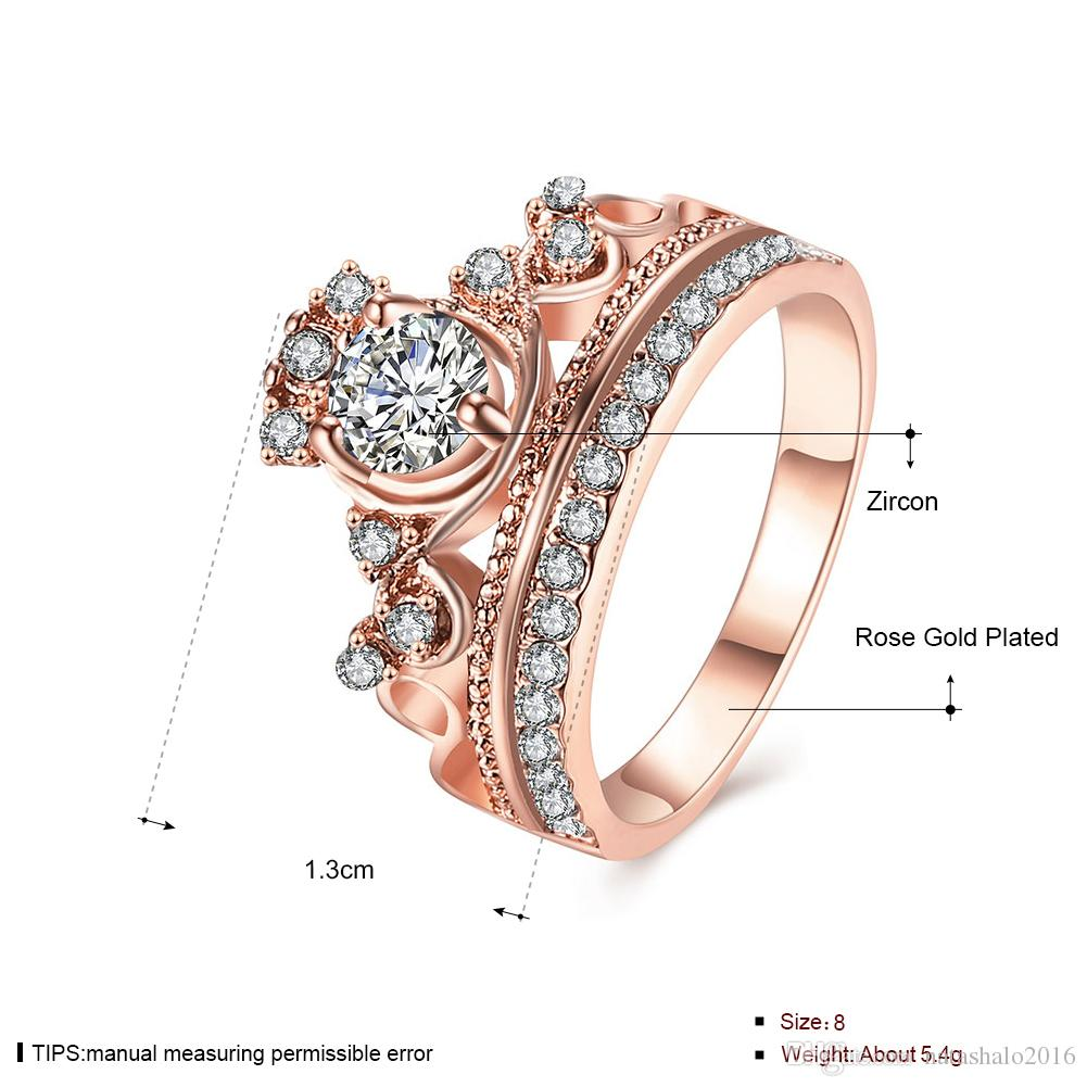 Female Crown Ring Rose Gold Wedding Rings with Gift Box Jewelry For Girls Classical Wedding Party ring Clear White Stone RG-010