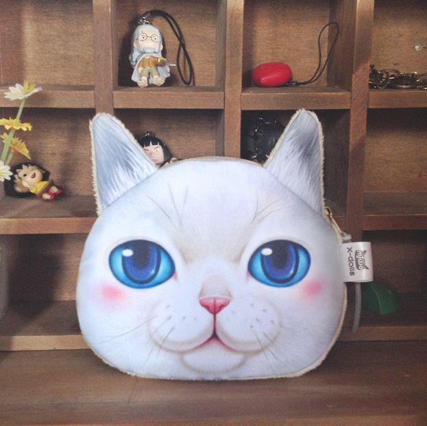 새로운 미니 3D 고양이 가방 동물 얼굴 지갑 동전 가방 여자 어린이 지갑 메이크업 핸드백 클러치 주머니 플러스 색상 키 전화 홀더 가방