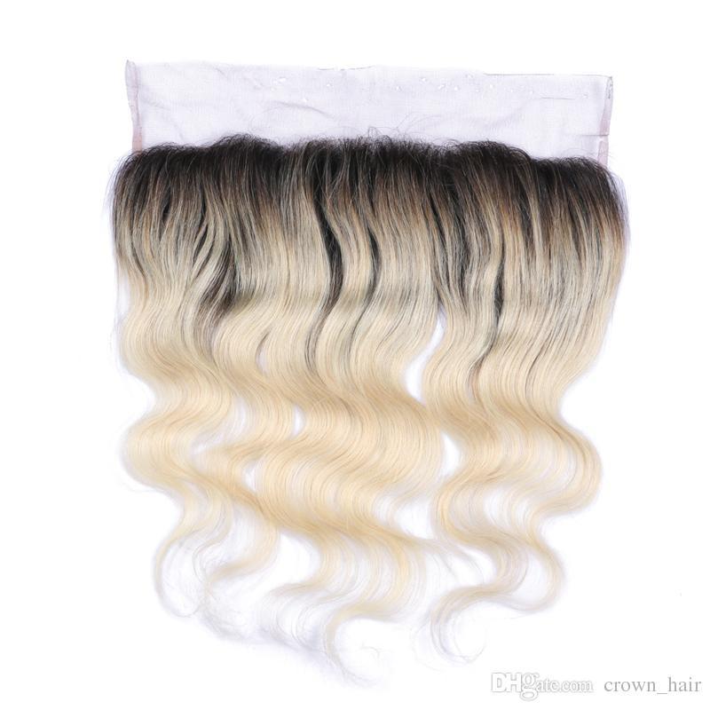 Ombre Color # 1B 613 Chiusura frontale in pizzo Nodo candeggiato Orecchio all'orecchio Completo frontale in pizzo con i capelli del bambino la donna