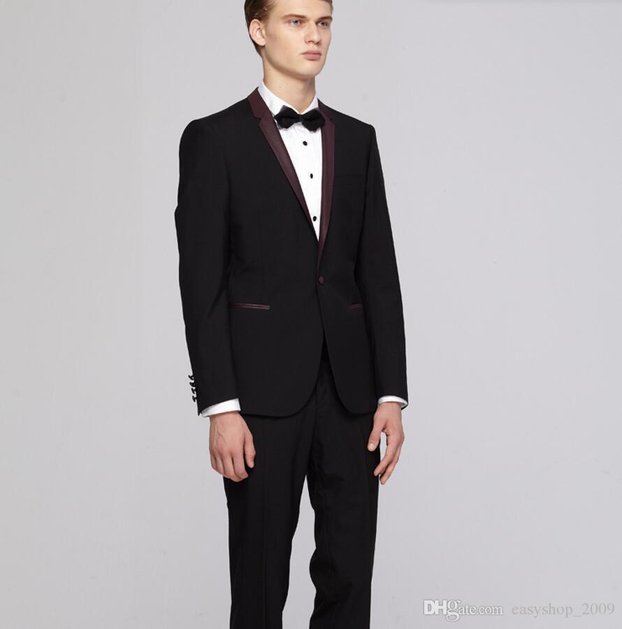 Homens ternos de casamento cor pura noivo smoking casamento smoking padrinhos paletó + calça melhor terno dos homens de duas peças