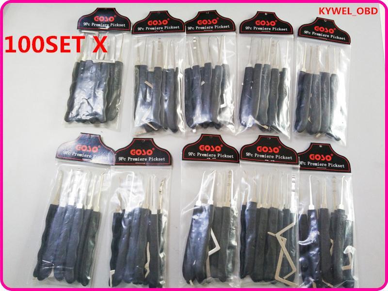 / GOSO Negro 9 piezas de gancho de bloqueo conjunto con llave de tensión para muescas cerraduras venta caliente libre de DHL