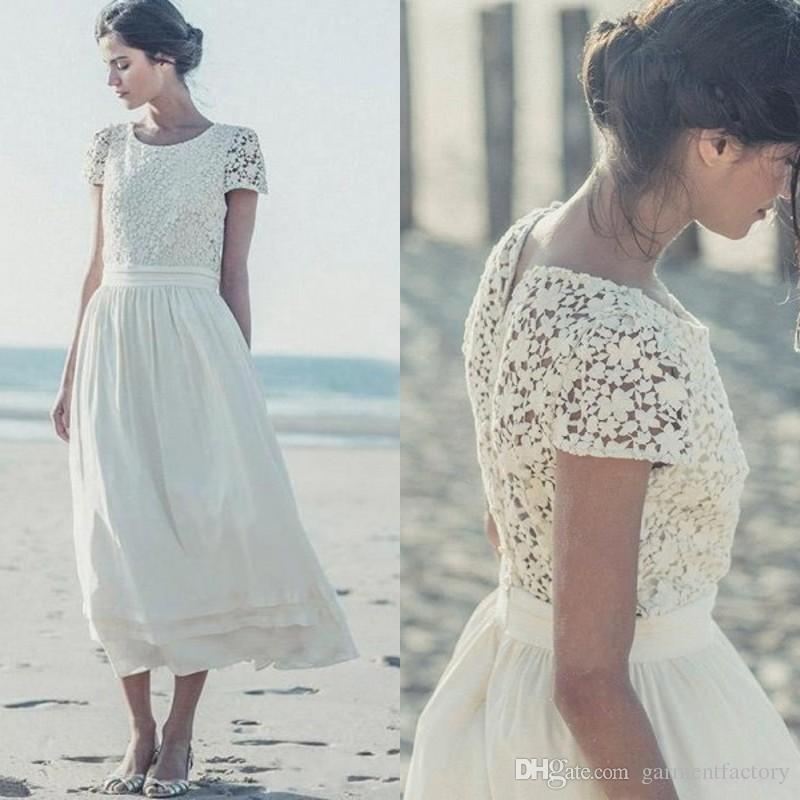 Großhandel Laure De Sagazan Strand Brautkleider Juwel Ausschnitt A ...
