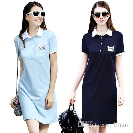Casual Ladies Polo T Shirt Dress Summer Short Sleeve Polo ...