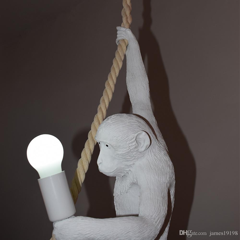 قرد الحديث ضوء السقف الأبيض قرد أبيض على حبل سقف قلادة مصباح تركيبات لغرفة الطعام فندق ديكور المنزل