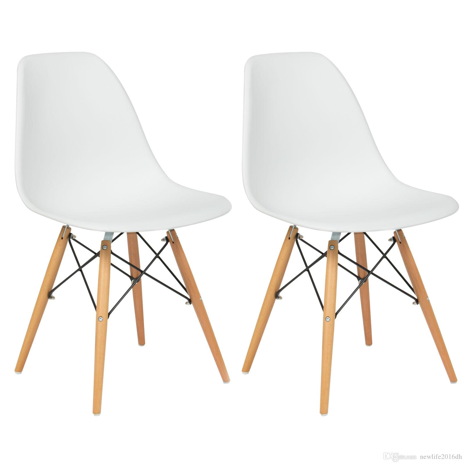 Of 2 Eames Style Dining Chair Mid Century Modern Molded Plastic