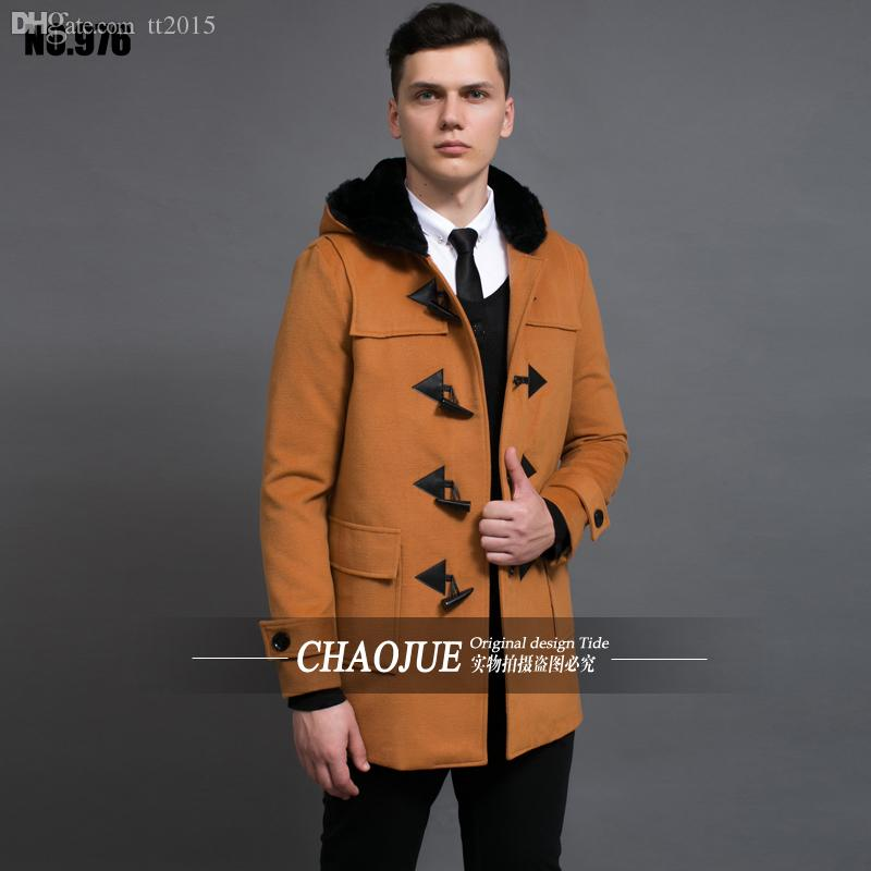f8928c36a0ae1 2019 Fall Horn Button Overcoat 2016 6XL Plus Size Mens Wool Coat Uk Hooded  Red Camel Woolen Coats For Men Black Duffle Coats From Tt2015