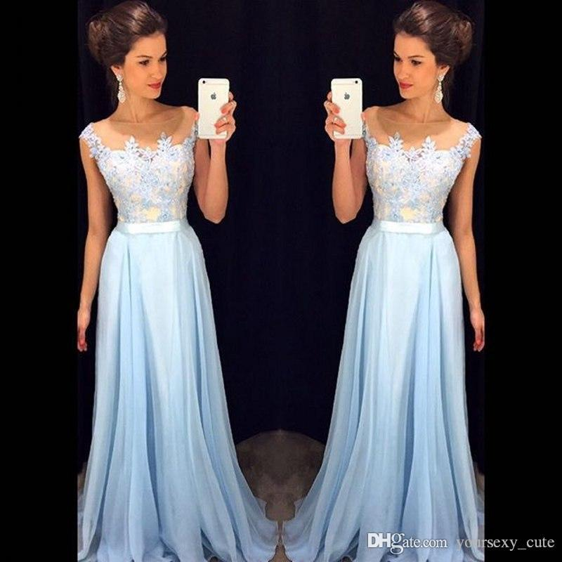 Light Sky Blue Long Prom Dresses Newest Sheer Neck Cap Sleeves Appliques Chiffon Custom Made Floor Length Evening Gowns With Sash