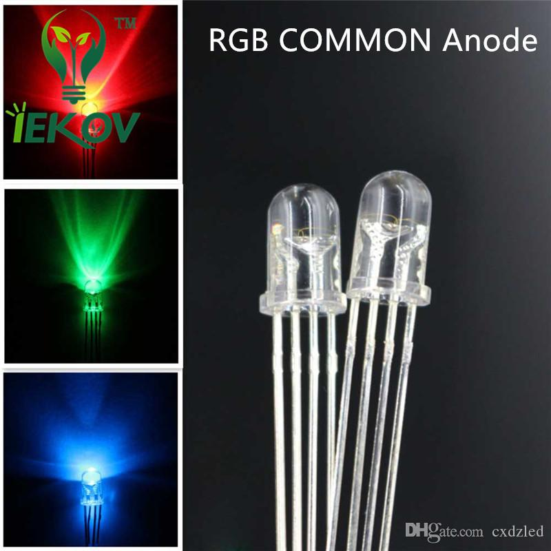 LED 5mm 4Pin Tri-Color RGB Red Green Blue COMMON Anode 4Pins Tri Color Emitting Diodes F5 RGB Water Clear LEDs LIGHT