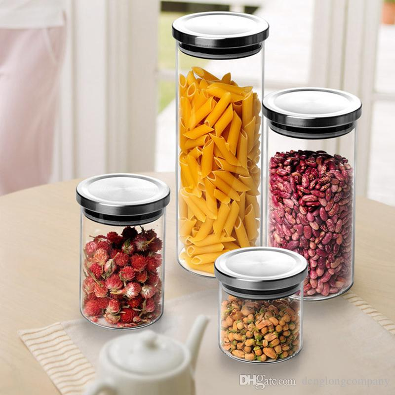 Spin Lock Airtight Canisters Round Transparent High Borosilicate