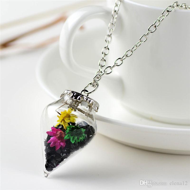 Flor seca de cristal cono de deriva deseando botella de cristal Collares para las mujeres amante mejor amigo deseo DIY joyería regalo de Navidad 161546