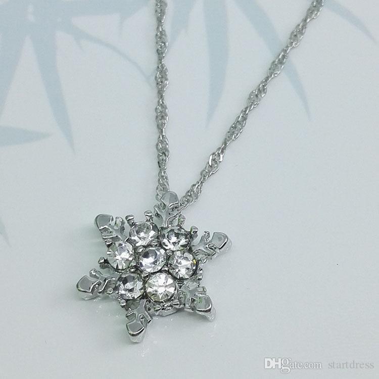 Spedizione gratuita Ciondolo di lusso gioielli da sposa collane di fascino fiocco di neve cristallo argento collana placcato signore al matrimonio