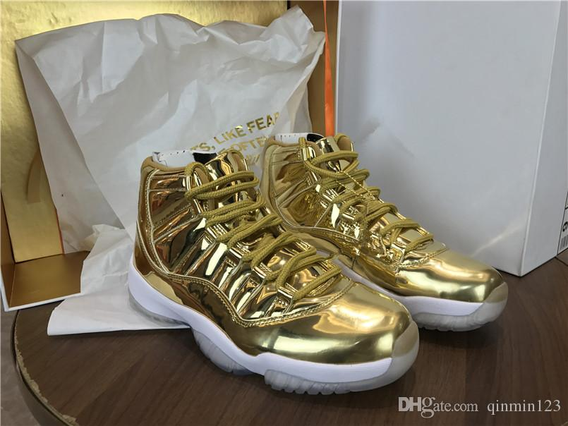 3f0e713152 Wholesale New 11 XI high Metallic gold white men Basketball Shoes sneakers  Sports fashion training sneakers top quality size 8-13