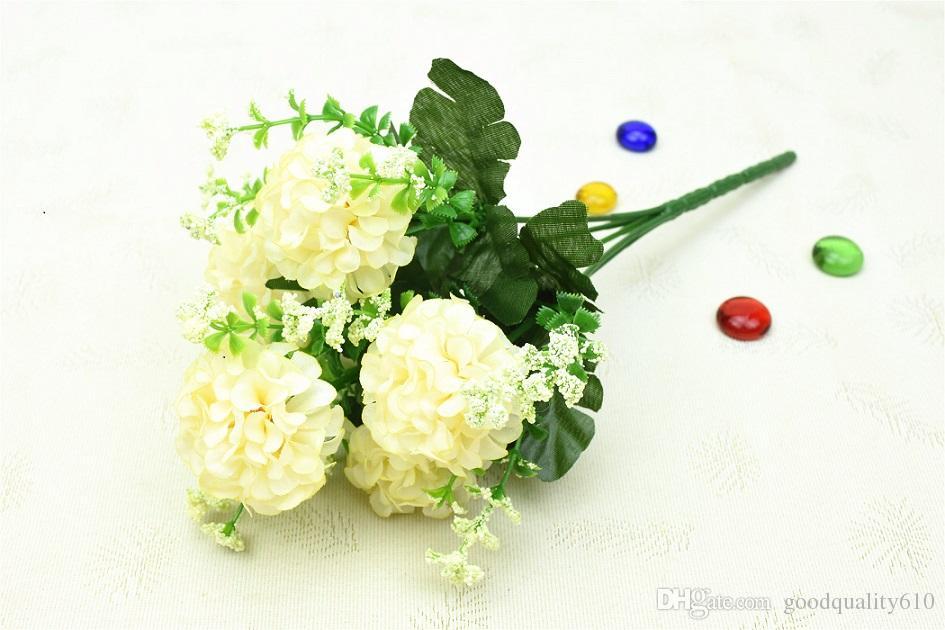 10 باقات الاصطناعي الكوبية زهرة اليدوية 5 رؤساء لحضور حفل زفاف المنزل الديكور باقة الزفاف