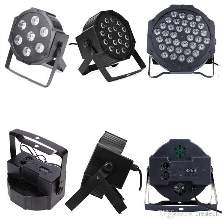 7X10W RGBW LED Par Lights DMX Par Can Light Wash Effect Sound Activated Modes for Stage DJ Lighting Party USED