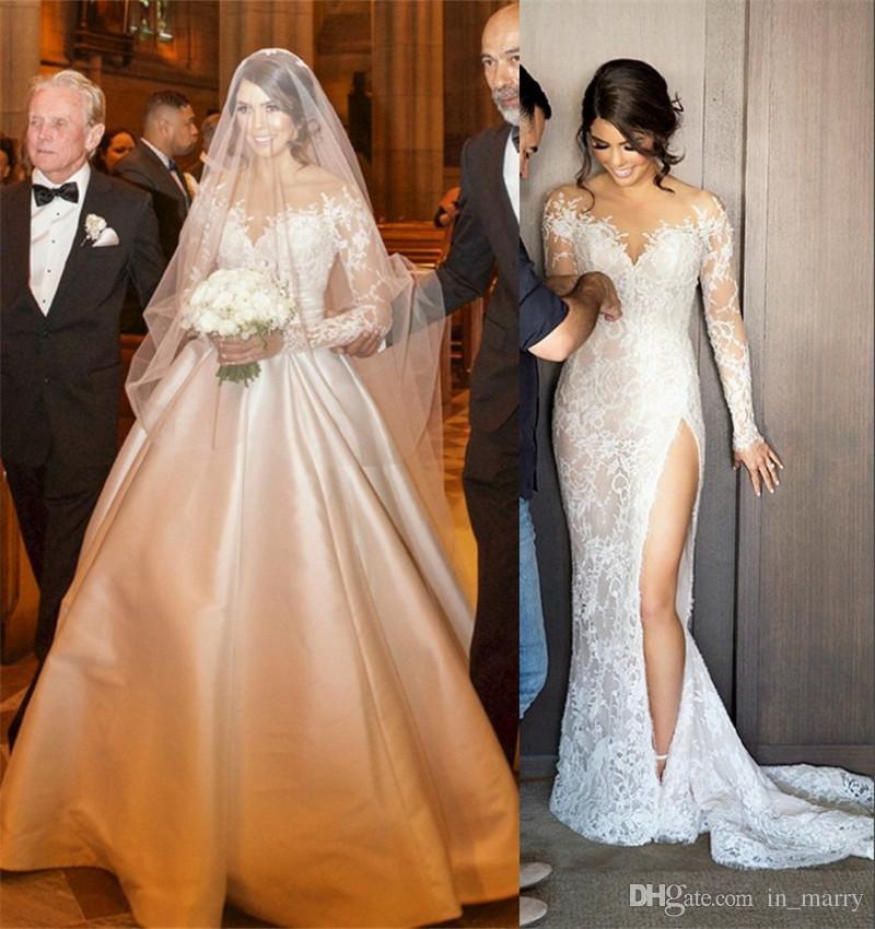 2017 new designer mermaid wedding dresses detachable skirt for 2 in 1 wedding dress designers